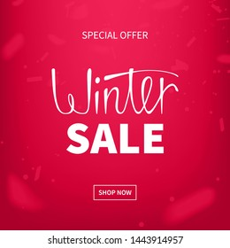 Stock vector illustration red winter sale. Winter design. Templates for placards, banners, flyers, presentations, reports. Lettering design. EPS10