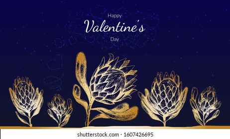 Stock vector illustration Saint valentine's day cards with gold protea king flowers on blue background. Spring  botanical template for web site banner or greeting card love day.