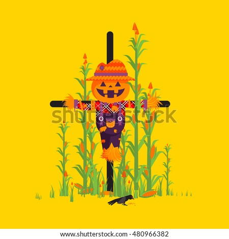 Stock vector illustration a scarecrow with a pumpkin instead of a head among maize character for halloween in a flat style