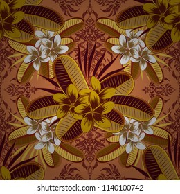 Stock vector illustration. Seamless pattern of abstrat flowers in yellow, orange and brown colors. Vintage style.