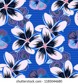 Stock vector illustration. Seamless pattern of abstrat plumeria flowers in black and blue colors. Vintage style.