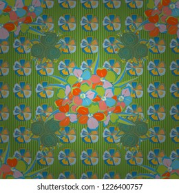 Stock vector illustration. Seamless pattern of abstrat primula flowers in orange, green and blue colors. Vintage style.