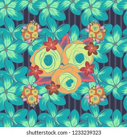 Stock vector illustration. Seamless pattern of abstrat rose flowers and leaves in green, violet and blue colors. Vintage style.