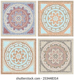 Stock vector illustration seamless pattern antique mosaic