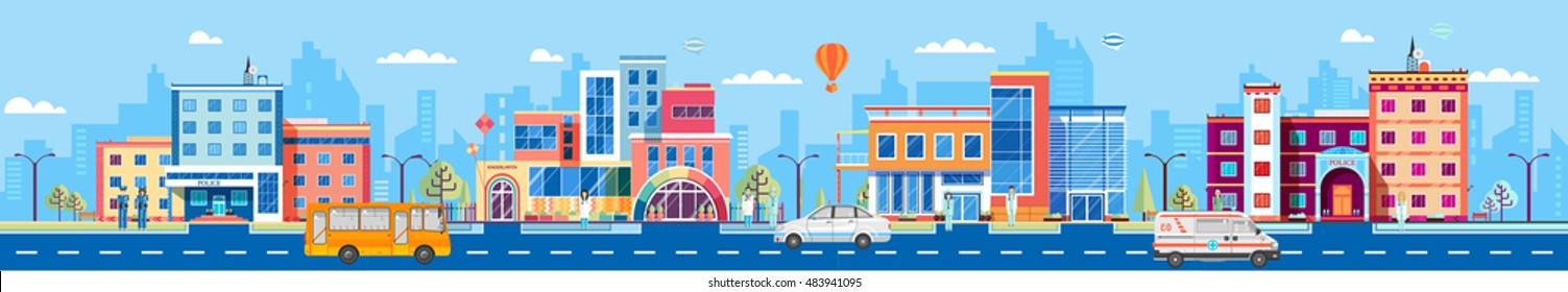 Stock vector Illustration set building style city header title website Flat banner footer site background image picture backdrop corporate Architecture  town kindergarten bus police car ambulance road