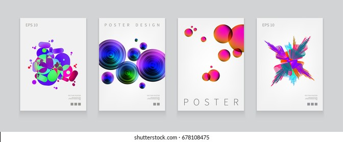 Stock vector illustration set cover templates with abstract liquid bubbles shapes, 80s memphis geometric style flat and 3d design elements. Retro art for banners, flyers, placards and posters. EPS 10