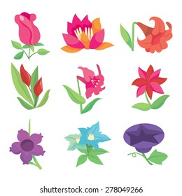 A stock vector illustration set of gorgeous and cute spring flowers mix.