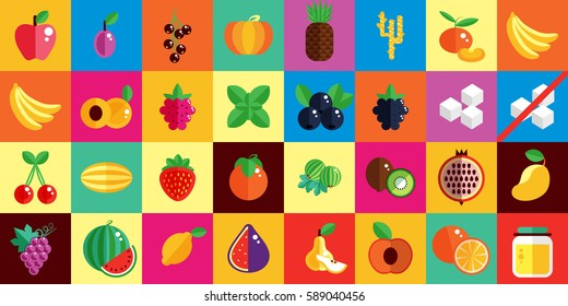 Stock vector illustration set icons of fruits in flat style