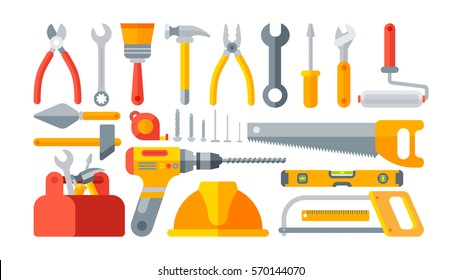 Stock vector illustration set isolated icons building tools repair, construction buildings, drill, hammer, screwdriver, saw, file, putty knife, ruler, helmet, roller, brush, tool box, kit flat style