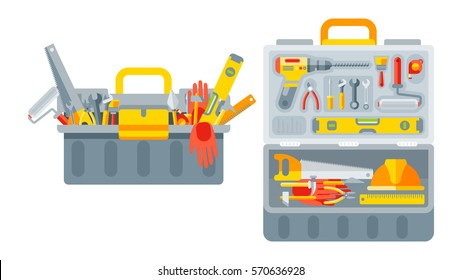Stock vector illustration set isolated icons open and closed tool box building tools repair, construction of buildings, drill, hammer, screwdriver, saw, putty knife, ruler, helmet, roller, brush, kit