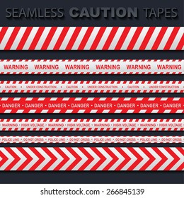 Stock Vector Illustration: Set of red and white seamless caution tapes with different signs. Police line, do not cross, high voltage, danger, warning, under construction.