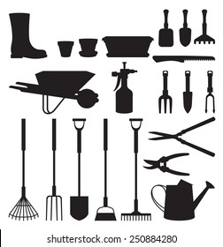 Stock vector illustration set of silhouettes of objects of garden tools and accessories/Set of silhouettes of objects garden tools/Stock vector illustration