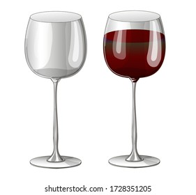 Stock vector illustration. Set. Two glasses - one empty transparent and a glass with red wine drawn on a white background