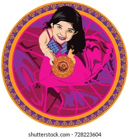 Stock vector illustration showing indian small Girl holding a diya on diwali festival, looking up , asian girl and diya, top view or birds eye view