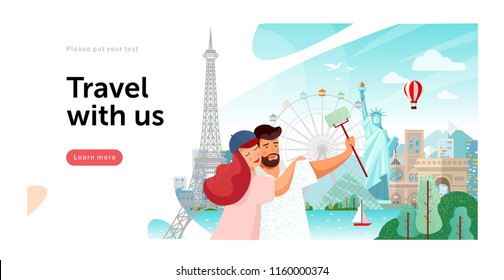 Stock Vector illustration of sights from around the world: Statue of Liberty in America, Eiffel Tower in Paris, picture for travel images, happy family travels, makes selfie and photographed