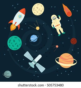Stock Vector Illustration Space set of planets, orbits, rockets, satellite, stars, ufo, astronaut apollo comet meteorite Cosmos Vector illustration