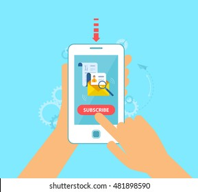 Stock vector illustration of subscription to the newsletter from the phone, email marketing, business, advertising