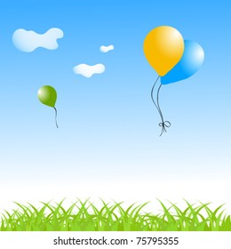 Stock Vector Illustration: summer vector background with balloons in the sky