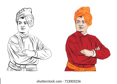 stock vector Illustration of Swami Vivekananda, Indian spiritual hindu monk and disciple of Ramakrishna Paramhansa
