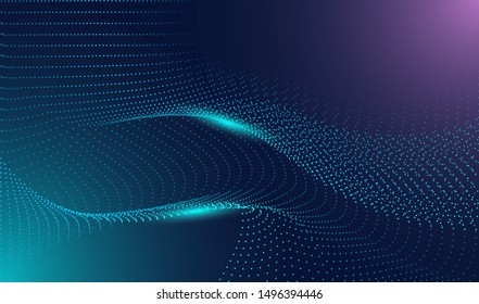 stock vector illustration of technology futuristic circuit digital, 3d abstract sci-fi user interface concept with gradient dots and lines. artificial intelligence. abstract vector background.