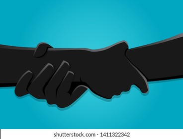 stock vector illustration of two hands holding each other strongly
