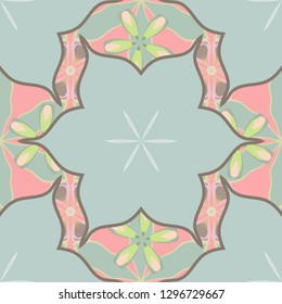 Stock vector illustration. Vintage style. Seamless pattern of abstrat flowers in gray, beige and yellow colors.