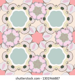 Stock vector illustration. Vintage style. Seamless pattern of abstrat flowers in beige, gray and green colors.