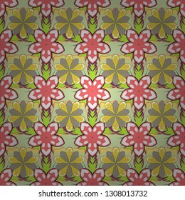 Stock vector illustration. Vintage style. Seamless pattern of abstrat flowers in yellow, beige and pink colors.