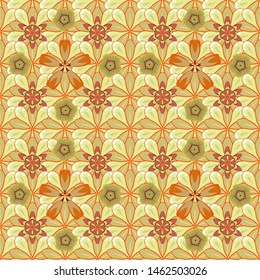 Stock vector illustration. Vintage style. Seamless pattern of abstrat flowers in yellow, orange and beige colors.