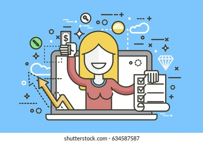 Stock vector illustration woman laptop notebook offers fill in application form design element email marketing newsletter money win earning income, discount, online linear style yellow background icon