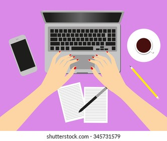 Stock Vector Illustration: women in the workplace. Hands desks laptop screen vector illustration of business people Top View angle above the office