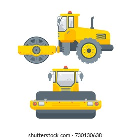 Stock vector isolated asphalt paver machine illustration side view and front view, paving roads business building materials, design element flat style white background for motion design or infographic