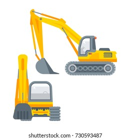 Stock vector isolated bagger, dredge, dredger, excavator digging pit power shovel navvy, drag illustration side view and front view, business building, design element in flat style on white background