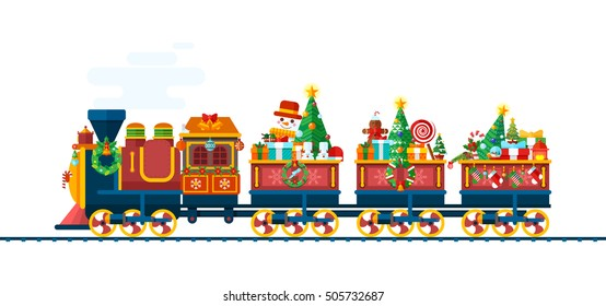 Stock Vector isolated illustration of a Christmas train with gifts, toys, sweets, tree from Santa Claus in flat style is racing on white background for info graphics Happy New Year 2017