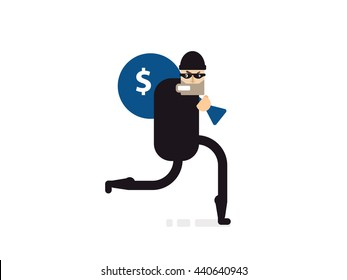 Stock Vector isolated illustration thief with bag of money, in dark suit, stole, robber runs, on white background,  in black mask, criminal in flat style