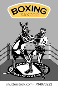 stock vector kangaroo and the man boxing in the ring retro style