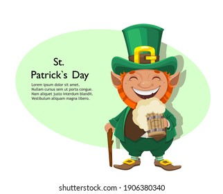 Stock vector leprechaun. Happy St Patrick's day greeting card. Cheerful leprechaun cartoon character holding beer and walking cane.