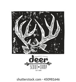 Stock vector linocut with a image of deer horns. Graphic design for t-shirt. Black print on white background