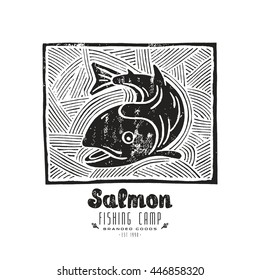 Stock vector linocut with a picture of salmon. Black print on white background