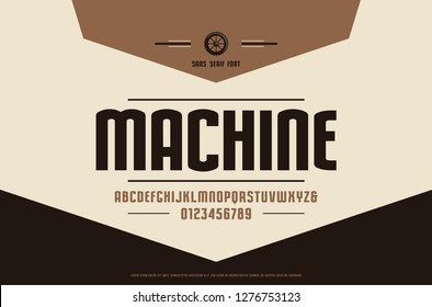 Stock vector narrow sans serif font, alphabet, typeface. Letters and numbers for logo and label design in retro style