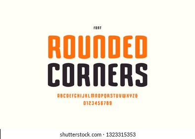 Stock vector narrow sans serif font with rounded corners. Letters and numbers for logo and label design in sport style. Isolated on white background