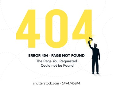 stock vector page not found template with a painter. 404 error design for web page. vector illustration background.
