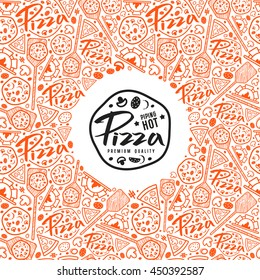 Stock vector pizza cover for boxes. Color print on white background