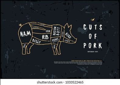 Stock vector pork cuts diagram in the style of handmade graphics. Illustration with rough texture. Color print on black background