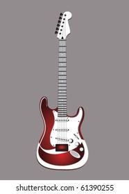 Stock vector red bass guitar