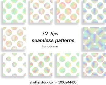 stock vector round pale seamless pattern set