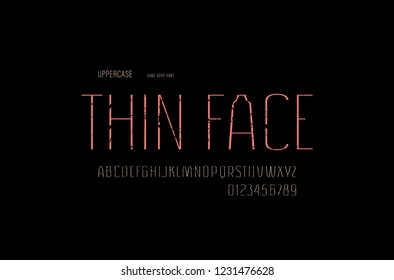Stock vector sans serif font, alphabet, typography. Thin line face. Letters and numbers with rough texture for logo and emblem design - Shutterstock ID 1231476628