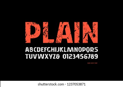 Stock vector sans serif font, alphabet, typography. Letters and numbers with rough texture for logo and headline design. Print on black background