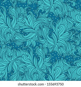 Stock vector seamless pattern with lines and dots in blue.