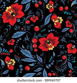 stock vector seamless  pattern. oriental or russian red flower